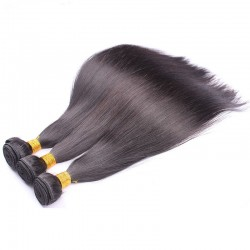 3 Bundle Deals Silk Straight Virgin Human Hair Weft Natural Color 8A