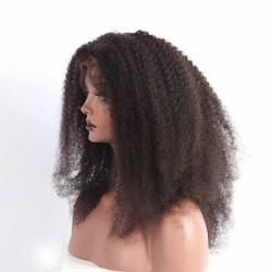Afro Kinky Curly Monglian/Cambodian/Vietnamese/Indian Human Hair Wig 150% Density Natural Hair-Line Afro Kinky Curls Lace Frontal Wig