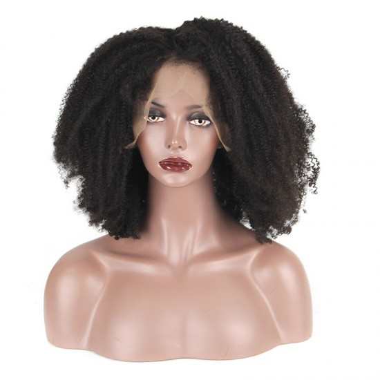 Afro Kinky Curly Human Hair Lace Frontal Wig with Baby Hair in Frontal of The Wig Bleached Knots Super Bouncy 180 Density Lace FRONTAL Wig Original Human Hair Wigs