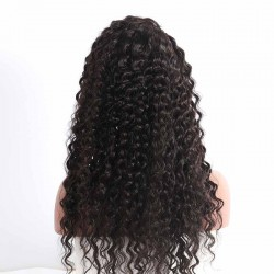 Deep Wave Lace Frontal Wig 150% Density With Baby Hair Pre-Plucked Natural Hair Line Human Hair Wigs