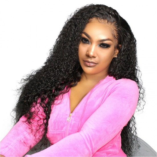 13x4 LACE FRONTAL WIG KINKY CURLY NATURAL COLOR RAW HUMAN HAIR MATERIAL