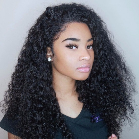 DEEP WAVE HUMAN HAIR WIG PRE-PLUCKED NATURAL HAIRLINE WITH BABY HAIR LACE FRONTAL WIGS