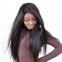 13X6 Lace Front Human Hair Wigs Pre Plucked 150% Density Silky Straight Brazilian/Indian/Vietnamese Human Hair Lace Frontal Black Wig For Women