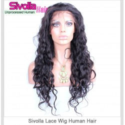 Natural Wave 150% Density Cambodian Human Hair Wigs Natural Hair Line Wavy Lace Frontal Wig