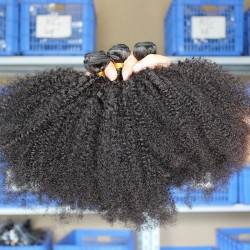 10Pcs Wholesale Black Color BOOM Bundkes Hair Texture Afro Kinky Curly Human Hair Mongolian Brazilian Cambodian Vietnamese Hair Weaving