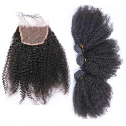 3 Bundle with Closure 4x4 Virgin Human Hair Afro Kinky Curly Hair Natural Hair with Lace Closure Kinky Curls 9A