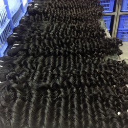 Cambodian 2PCS a lot Deep Wave Mink Human Hair Raw Unprocessed Natural Black Color Hair Weft 10A