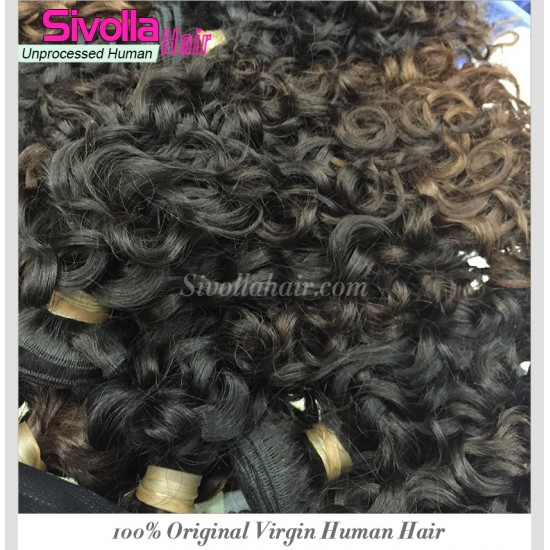 1 bundles 100% Cambodian Italian Curly/Romance Curly Wavy Virgin Hair Pieces Wefts Shine luster Aliexpress Hair