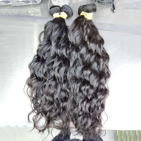 1 Bundle Deal Cambodian Natural Wave Black Color Machine Double Weft Hair Curls Human Hair Durable Quality