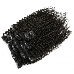 More Thicker Bouncy Kinky Curly Natural Color (#1B) Clip In Human Hair Extensions Remy Hair | Sivolla Hair | 120Gram/Set 8Pcs/Lot