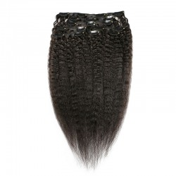 Kinky Straight Clip in Human Hair Extension Natural Color | Sivolla Hair | 120Gram/Set 8Pcs/Lot