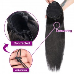 Straight Ponytail Remy Human Hair Extensions Natural Color | Sivolla Hair