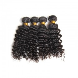 3 Bundles with Frontal 13x4 Deep Curly Raw Virgin Human Hair Natural Hairline Bundle Deals