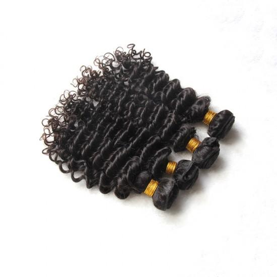 3 Bundles with Frontal 13x4 Deep Curly Raw Virgin Human Hair