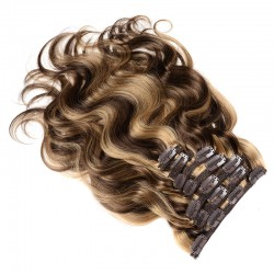 100% Natural Human Remy Hair Balayage Hair Extension Caramel Color Wavy Clip In Hair Pieces