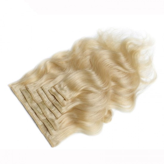 Body Wave #613 Blonde Color Clip In Human Hair Extensions