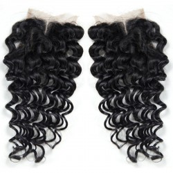Sivolla 100% Human Hair Hand Make Lace Closure 4x4 Deep Wave Texture for Black Beauty