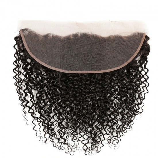 Ear to Ear 13x4inch Jerry Curly Natural Hairline Lace Frontal Closure Natural Color Black Curly Closure